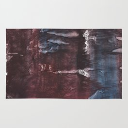 Brown Blue colored watercolor design Rug