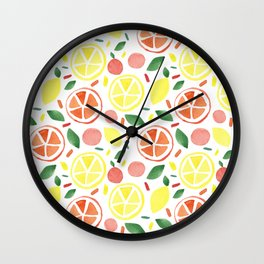 Watercolour Citrus Fruit  Wall Clock