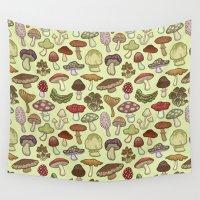 mushroom Wall Tapestries featuring Mushroom Circle by Sam Magee