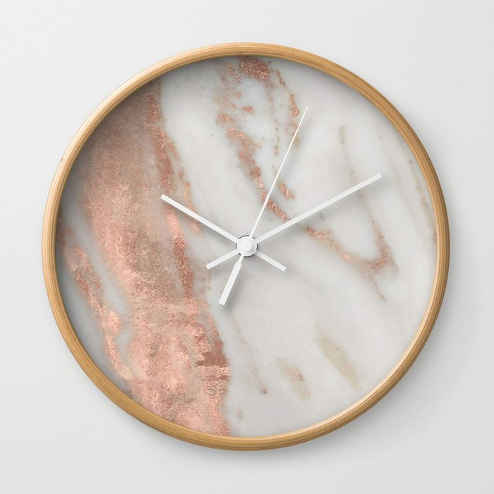 Marble Rose Gold Shimmery Marble Wall Clock By