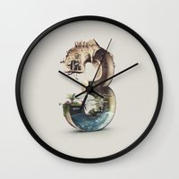 number Wall Clocks featuring Number 3 by Kevin Roodhorst