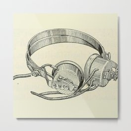 Old school headphones. Metal Print