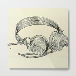 Old school headphones. Metal Print
