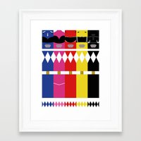 power rangers Framed Art Prints featuring Mighty Morphin Power Rangers by Ripple Ripple