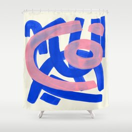 Tribal Pink Blue Fun Colorful Mid Century Modern Abstract Painting Shapes Pattern Shower Curtain