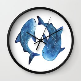 Starry Whale Sharks Wall Clock
