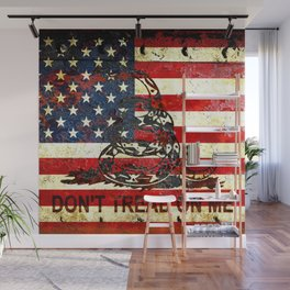 Don't Tread on Me - American Flag And Gadsden Flag Composition Wall Mural