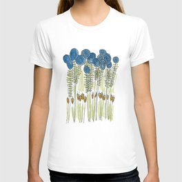 Tall skinny blue flowers with cattails T-shirt