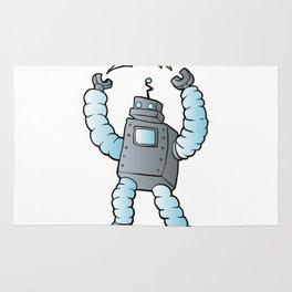 cartoon blue eletric robot Rug