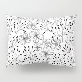 Doodle flowers in black and white Pillow Sham