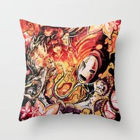 spirited away Throw Pillows featuring Spirited Away by Iris-sempi