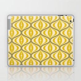 Retro Mid-Century Saucer Pattern in Yellow, Gray, Cream Laptop & iPad Skin