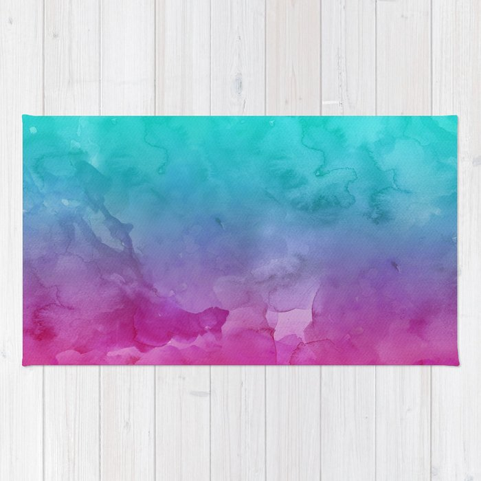 Favorite Modern bright summer turquoise pink watercolor ombre hand painted  OH38