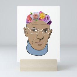 Michel Foucault - Portrait With Flower Crown Mini Art Print