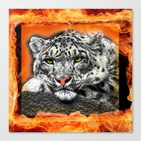 snow leopard Canvas Prints featuring Snow Leopard by SwanniePhotoArt