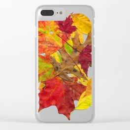 Autumn Fall Leaves Foliage Art Clear iPhone Case