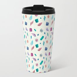 Watercolor Cristals and shells Sometimes later becomes never typography Travel Mug