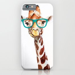 Hipster Giraffe with Glasses Painting iPhone Case