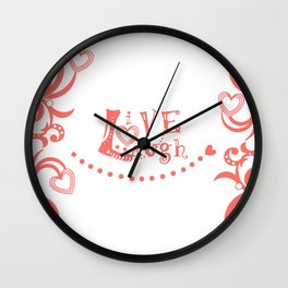 Live Love Laugh in Coral Wall Clock