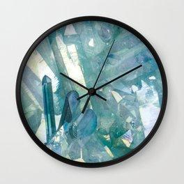 Sparkling Light Blue Crystal Shards Wall Clock