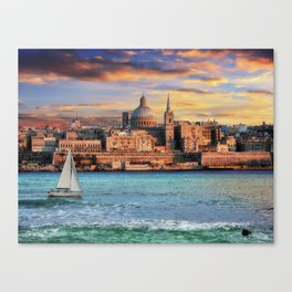 Valletta skyline at sunset Malta landscape Canvas Print