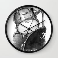 drums Wall Clocks featuring Drums by Ashley Silvernell Quick