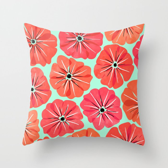 Poppy Floral Pattern Deko-Kissen