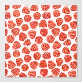 Watercolor raspberry pattern Canvas Print
