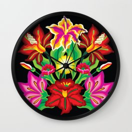 Mexican Exotic Flowers Wall Clock