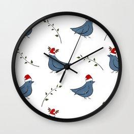 Christmas Santa birds pattern white Wall Clock