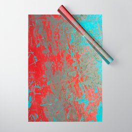 texture - aqua and red paint Wrapping Paper