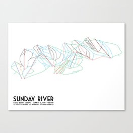 Sunday River, ME - Minimalist Trail Map Canvas Print