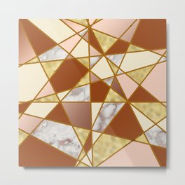Geometric Pattern with Marble and Gold effect Metal Print