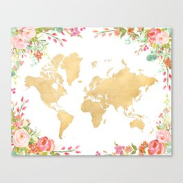 Bohemian world map with watercolor flowers Canvas Print
