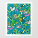 Rainforest Friends - watercolor animals on textured teal by micklyn