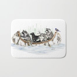 """ Critter Canoe "" wildlife rowing up river Bath Mat"