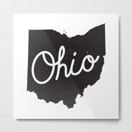 Ohio Typography Map Metal Print