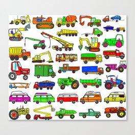 Doodle Trucks Vans and Vehicles Canvas Print