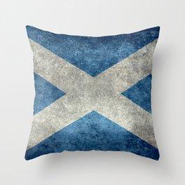 Flag of Scotland, Vintage retro style Throw Pillow