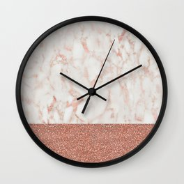 Rose Gold Glitter Metallic and White Marble Wall Clock