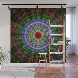 Groovy painterly mandala with tribal patterns Wall Mural
