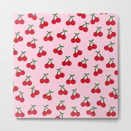 Cherries 3 (on pink) Metal Print