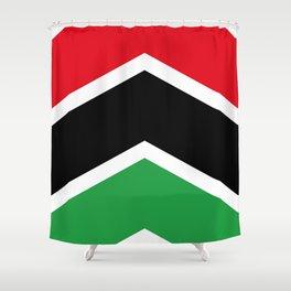 Chevron Libya Flag Colors Shower Curtain