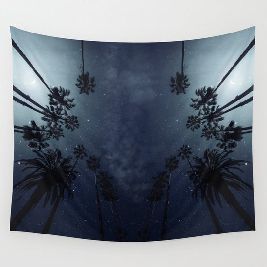 Palm Trees, Night Sky, Stars, Moon Wall Tapestry