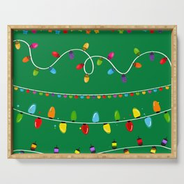 Light Bulbs Collection. Set of Christmas lights for Xmas holiday greeting card design green background Serving Tray