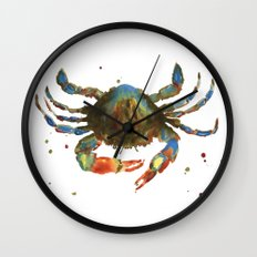 Crab art, coastal art, watercolor crab, crab pillow, beach house pillow Wall Clock