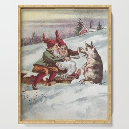 Christmas Card from Sweden, 1800s Serving Tray