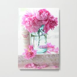 Aqua Pink Cottage Peonies In Mason Jar   Metal Print