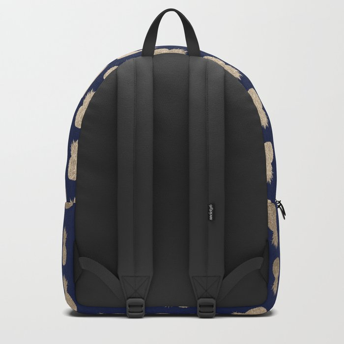 Gold Pineapple Pattern Navy Blue Backpack