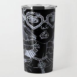 Geometric Black and White Pop Art Cute Doll Travel Mug